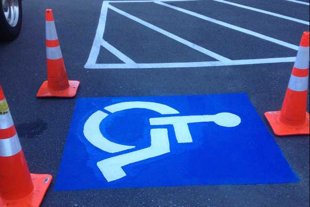 Parking lot with handicap markings